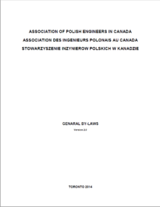 Association of Polish Engineers in Canada, By-Laws 2014-11-23, front page